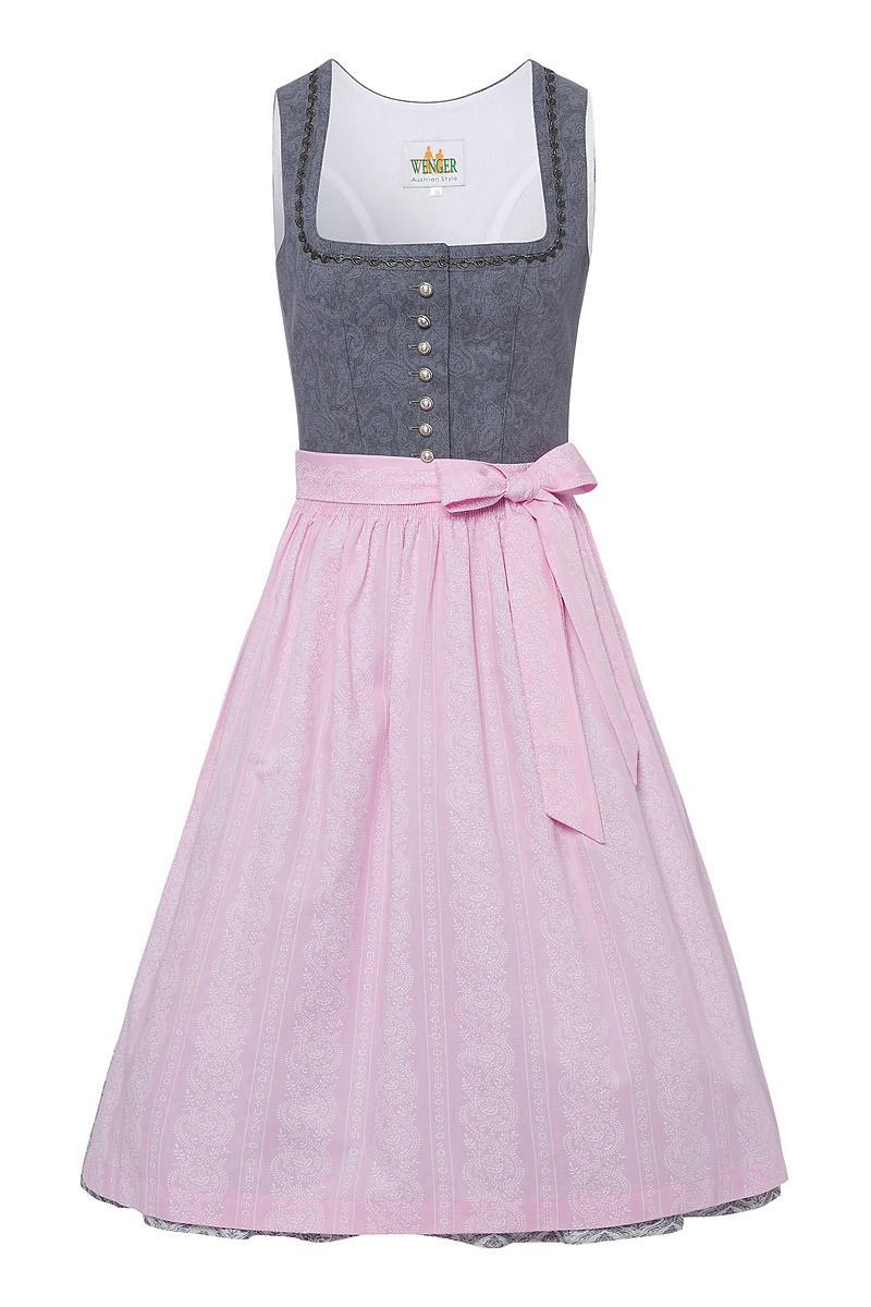 wenger trachtenmode dirndl lang 80er grau rosa tamara. Black Bedroom Furniture Sets. Home Design Ideas