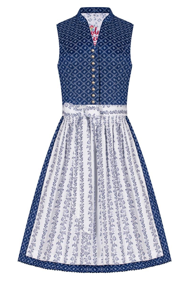 Moser Mini Dirndl 60 cm blau weiß gemustert